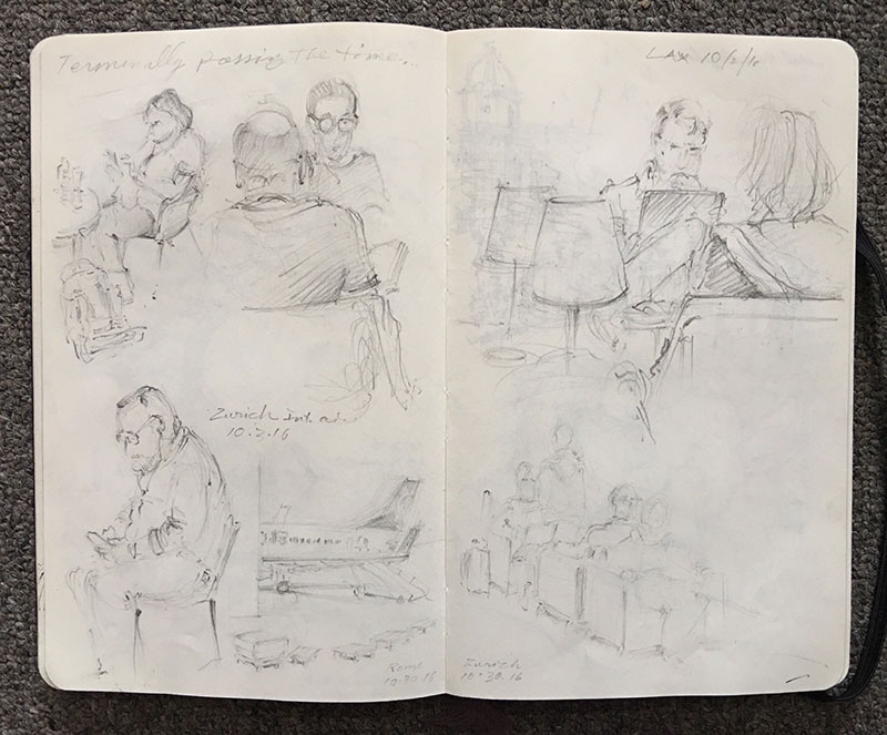 """Airport lounges are a great place to start honing sketch hunter instincts. But draw swiftly—you never know when the loud-speaker voice will interrupt, """"Now boarding, at Gate 12..."""""""
