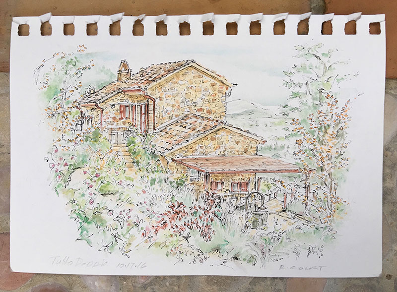 Water color sketch of Bob & Gina's home that I left as a 'thank you' note