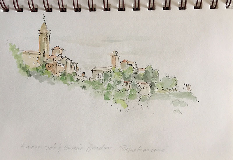 View of Ripatransone from Bob and Gina's garden terrace.