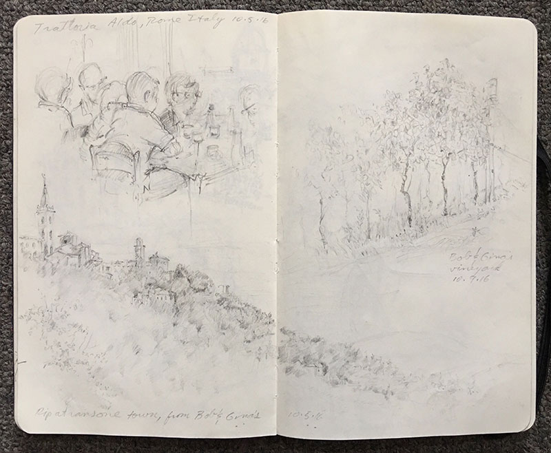 The ancient town of Ripatransone and vineyards spilling down the hilltop into fertile agrarian lands. During the trip I used 9B and 2B graphite for my pencil sketches