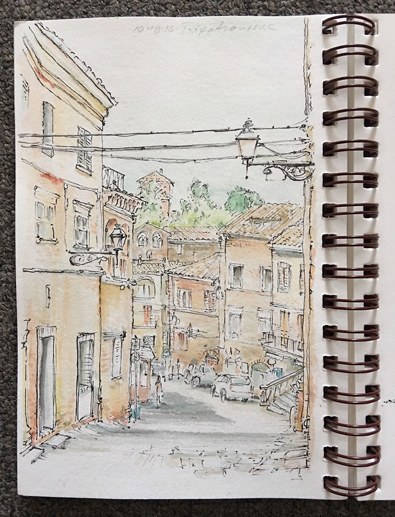 View down the main street in Ripatransone; once in a while all the elements come together for a satisfying sketch.