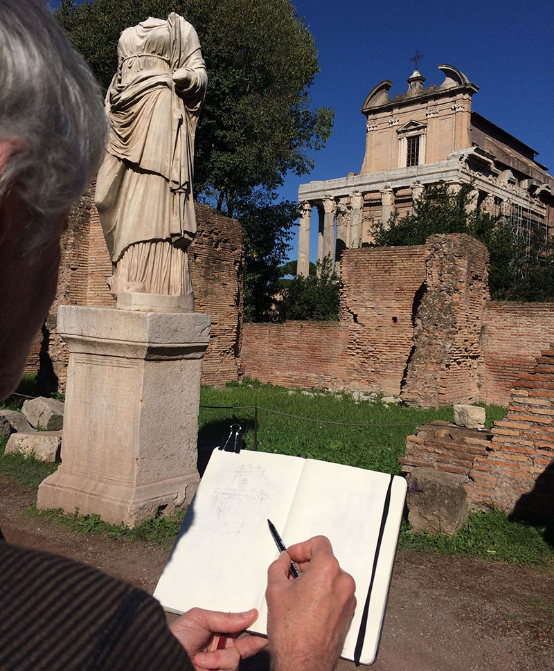 There were all sorts of fascinating ancient ruins to sketch in Rome. It was like being a kid in a candy store. The trick was to get a drawing location early in the morning, before herds of tourists interupted the view.