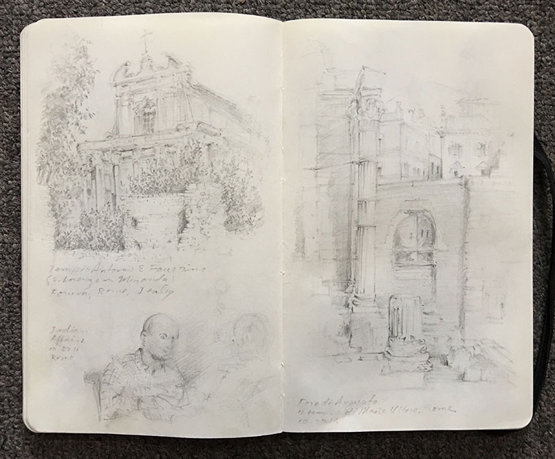 I was beginning to find my rhythm in blocking compositions and sketching the characteristics of ancient architecture. Lower left page is a man at an Indian restaurant—because sometimes you just need a break from eating pasta in Italy.