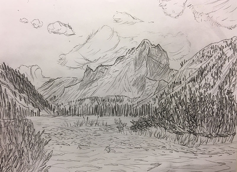 Illusion of depth is a prime ingredient for depicting form in space. During Thursday's youth Drawing Lab session, Devin referred to an iPad photo while composing a detailed pencil study of Canada's Boreal Forest. It looks like we could step right into this sketch and go for a hike!