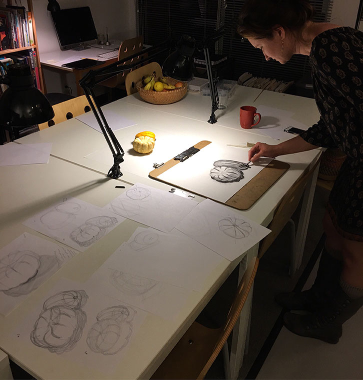 Jessica moves to Level 2 after an evening of iterative pencil and charcoal studies in contours and proportions of squash.