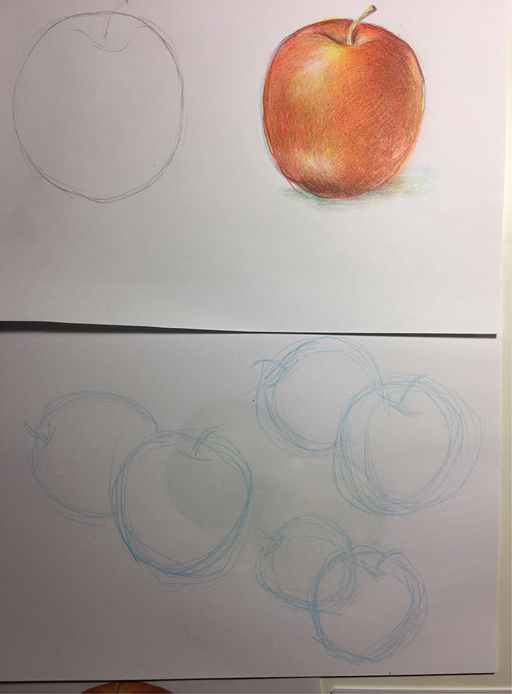 Rachel's iterative contour studies led to exquisite layering of primary colors and representation of the forms of apples.