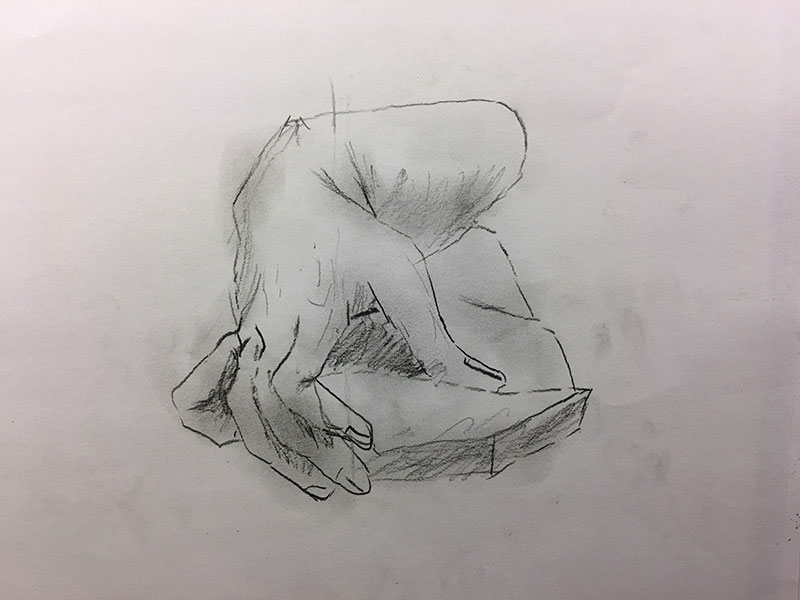 During Thursday's youth session, Devin used reference prints from Charles Bargue as he cranked out impressive contour studies of hands.