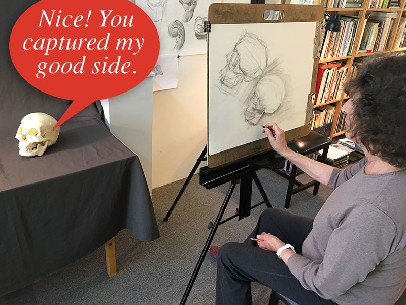 "Private coaching sessions allow students to focus on their specific drawing interests. ""Bob"" is an excellent model for Lenore."
