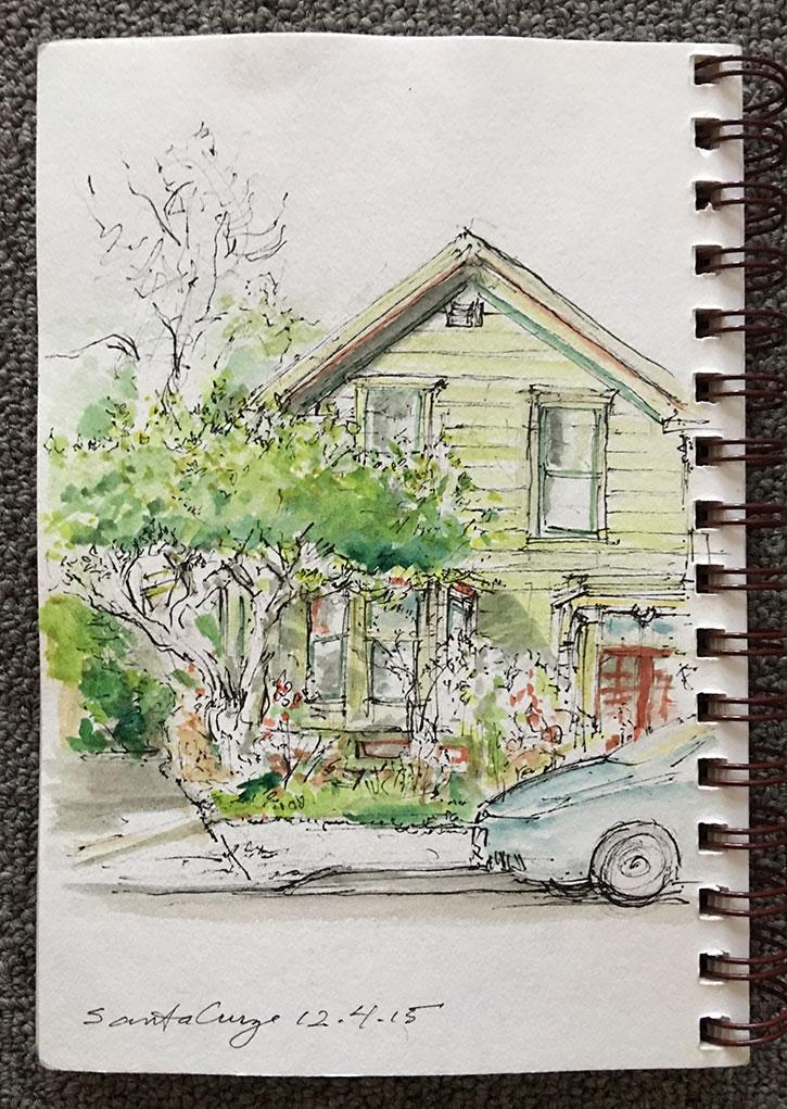 Santa Cruz, California, ink/watercolor, 2015